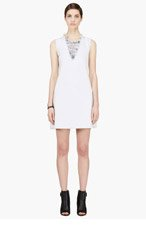 THEYSKENS' THEORY Pale blue denim shredded Wupp Daret dress for women
