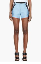 OSTWALD HELGASON Blue & Black silk-trimmed colorblocked Shorts for women