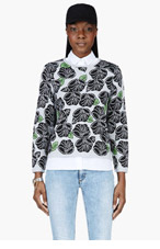 OSTWALD HELGASON Grey & black floral Crewneck sweater for women