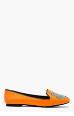 KENZO Orange Neoprene Embroidered Tiger Brenda Loafers for women