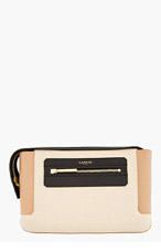 LANVIN Beige Leather Colorblocked Clutch for women