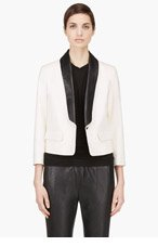 BAND OF OUTSIDERS Cream Leather Collar Blazer for women