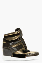 MARC BY MARC JACOBS Black & Gold Distressed Leather Cute Kicks Wedge Sneakers for women