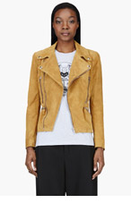 ALEXANDER MCQUEEN Ochre Tan Suede & Silk Biker Jacket for women