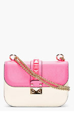 VALENTINO Fuchsia & Ivory studded lock shoulder bag for women