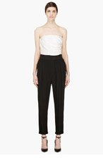 BAND OF OUTSIDERS Ivory & Black Strapless Jumpsuit for women
