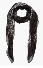 MCQ ALEXANDER MCQUEEN Black & White Speckle Print Monogram Scarf for women