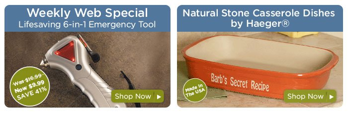 Emergency  Tool & Ceramic Casserole Dish