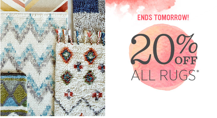 Ends tomorrow! 20% Off All Rugs*