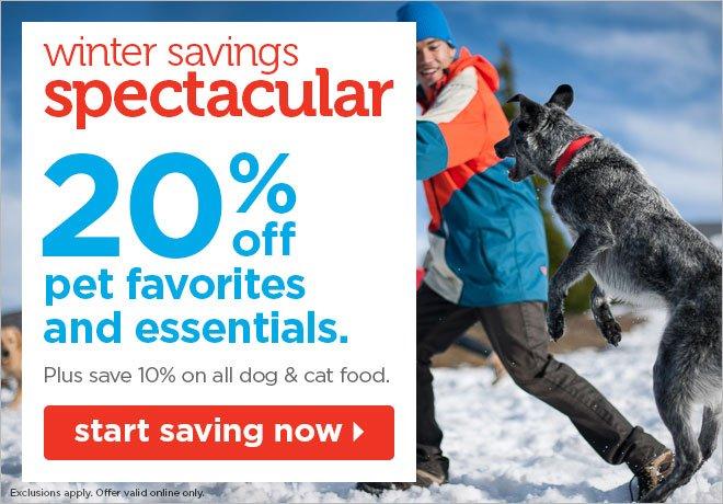 20% off pet favorites and essentials
