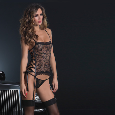 2-Pc Side Lace Up Set // Soft Bustier and G-String