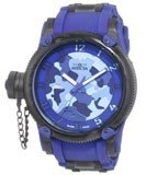 Invicta 1196 Men's Black IP Blue Rubber Strap Camouflage Dial Watch