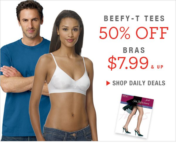Daily Deals Alert: 50% off Beefy-T Tees & Hosiery, plus get bras $7.99 and up