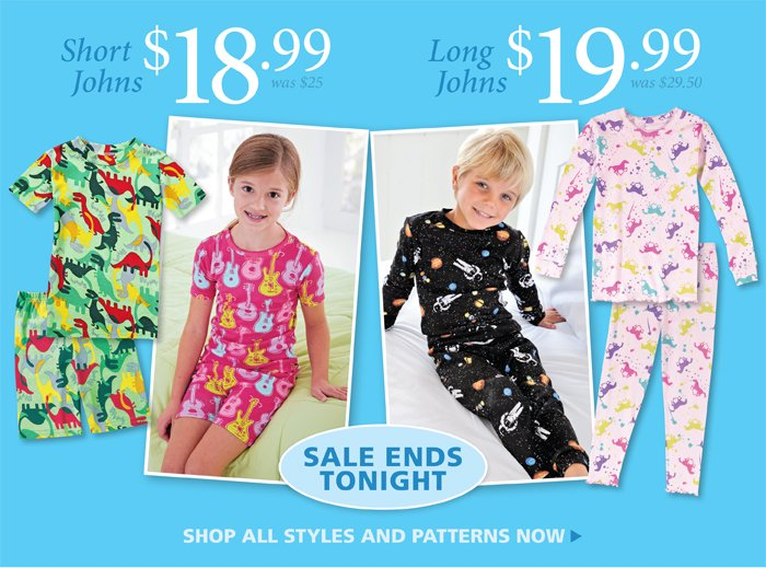 Boys and Girls Short Johns for $18.99, Long Johns for $19.99, Ends Tonight
