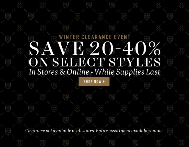 Winter Clearance Event: Save 20-40% on Select Styles. While Supplies Last. Shop Now >