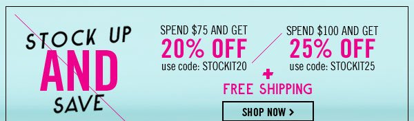 Get up to 25% off plus free shipping!