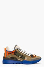 DSQUARED2 Orange & Khaki Camo Low Top Sneakers for men