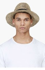 LANVIN Beige Open Weave Straw Hat for men