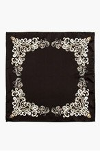 ALEXANDER MCQUEEN Black Silk Skull Filigree Pocket Square for men