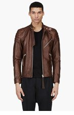 ACNE STUDIOS Brown Leather Biker Jacket for men