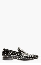 DSQUARED2 Black Grain Patent Leather Studded Loafers for men