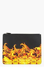 GIVENCHY Black Leather Flame Zip Pouch for men