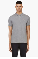 PAUL SMITH JEANS Heathered Grey Cotton Piqu� Zebra Logo Polo for men