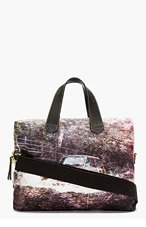 PAUL SMITH Black Distressed Print Canvas Tote for men