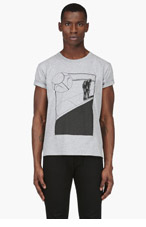 SAINT LAURENT Heathered Grey Graphic T-Shirt for men