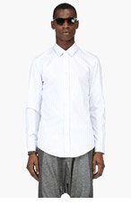 MAISON MARTIN MARGIELA White & Blue Stripe Shirt for men