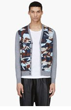 DSQUARED2 Grey Camo Print Panel Cardigan for men