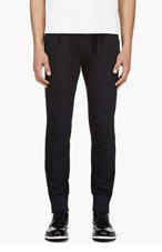 PAUL SMITH Navy Wool Bungee-trimmed Trousers for men