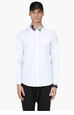 DSQUARED2 White Camo Print Collar Shirt for men
