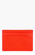 LANVIN Poppy Red Leather Card Holder for men