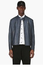 MAISON MARTIN MARGIELA Slate Blue Leather Jacket for men