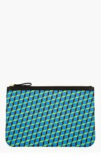 PIERRE HARDY Blue & Green Leather Cube Print Pouch for men