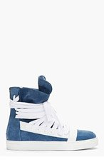 KRISVANASSCHE Steel Blue Overlaced High-Top Sneakers for men