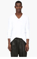 MAISON MARTIN MARGIELA White V-Neck Long Sleeve Sweater for men