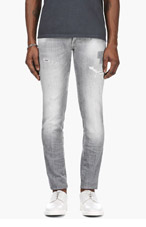 DSQUARED2 Light Grey Distressed Jeans for men