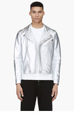 ACNE STUDIOS Silver Pebbled Leather Biker Jacket for men