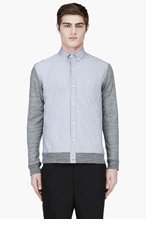 PUBLIC SCHOOL Grey Knit-Paneled Button Down Shirt for men
