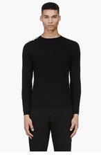 VERSUS Black Buttoned-Shoulder J.W. Anderson Edition Sweater for men