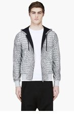 KRISVANASSCHE Grey Crocodile Jacquard Hoodie for men