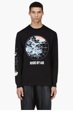 HOOD BY AIR Black Radar Print T-Shirt for men