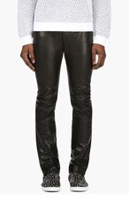 MAISON MARTIN MARGIELA Black Leather Slim Trousers for men