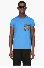 ALEXANDER MCQUEEN Blue Lace Pocket t-shirt for men