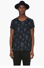 ALEXANDER MCQUEEN Black & Grey Skull T-Shirt for men