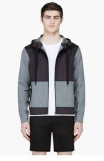 CALVIN KLEIN COLLECTION Heathered Grey & Black Hooded Sweater for men