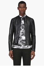 MAISON MARTIN MARGIELA Navy Leather Bomber Jacket for men
