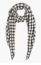 KRISVANASSCHE Black & Grey Polka Dot Scarf for men